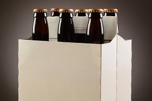 Six Pack Beer on Wood Table