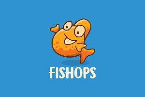 Bubble fish Cartoon Logo