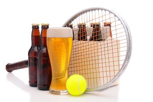 Beer Bottles with Tennis Racket and