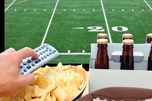 Deflated Football TV Screen Beer and
