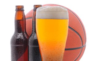Basketball and two beer bottles and