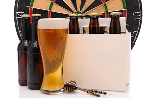 Beer Bottles with Darts and Dartboar