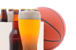 Basketball Six Pack and Glass of Bee