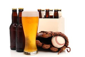 Beer Bottles and Baseball Glove with