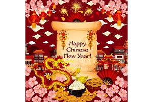 Chinese New Year wish vector greeting card