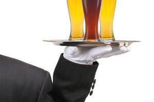 Butler with Beer Glasses on Tray