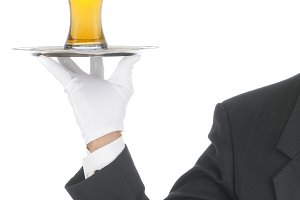 Butler with Beer on Tray