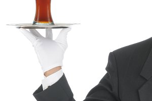 Waiter with Beer Glass on Tray