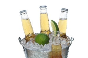 Beer Bucket with Lime and Bottle in