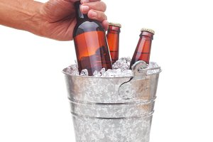Beer Bucket With Hand Taking Bottle