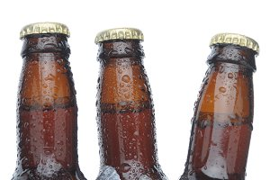 Three Brown Beer Bottles in Ice