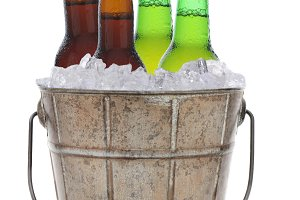 Old Fashioned Beer Bucket With Four