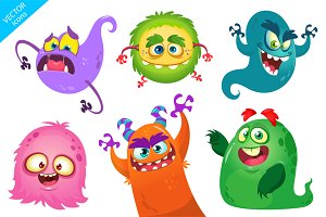 Cartoon monsters set (vector)