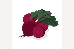 Isolate ripe beet root vegetable