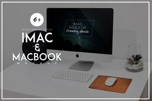 iMac & Macbook PSD Mockup Bundle