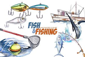 Fishing watercolor clip art