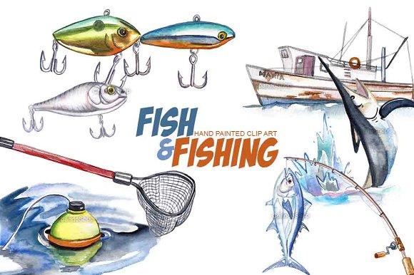 Fishing Watercolor Clip Art