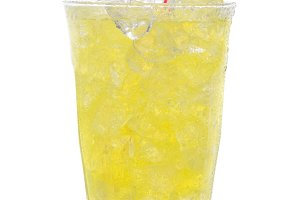 Glass Lemon Lime Soda with Drinking