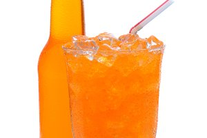 Glass of Orange Soda With Drinking S