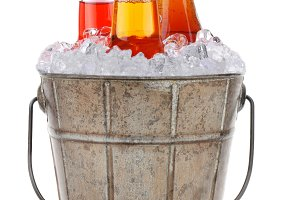 Old Bucket With Ice and Soda Pop