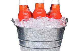 Strawberry Soda Bottles in Bucket