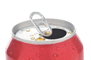 Close Up of a Red Soda Can with Pull