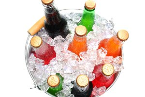 Bucket of Assorted Soda Bottles