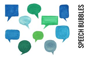 Watercolor Speech Bubbles Clip Art