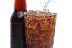 Glass of Cola with Drinking Straw an