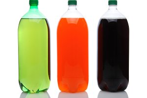 Large Soda Bottles on White
