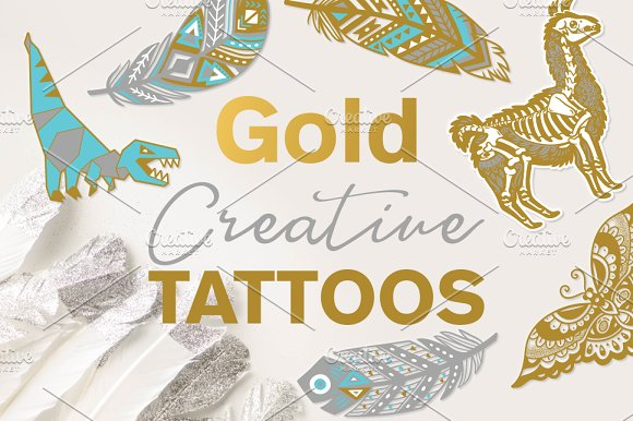 Gold creative tattos