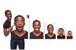 The collage of different emotions from an attractive African-American man