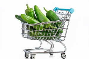 Little green peppers in cart.