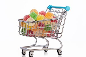 Sweets in shopping trolley.