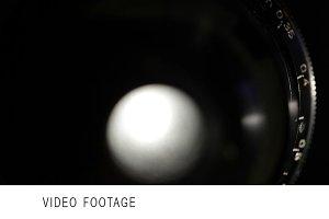 Vintage film lens shot from back.