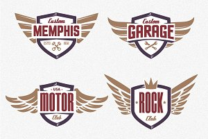 Winged Emblems | Vector Set
