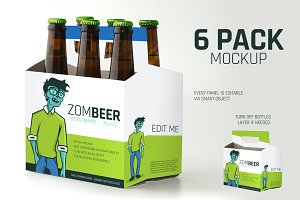 6 Pack Carton Mock Up