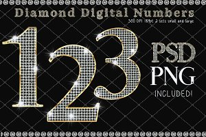 Diamond numbers clipart