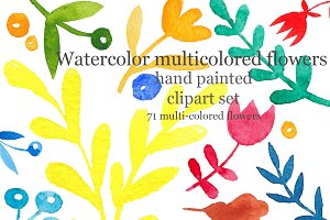 Watercolor colored flowers