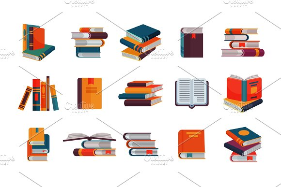 Books vector stack of textbooks and notebooks on bookshelves reading literature in library or bookstore bookish cover illustration set isolated on white background