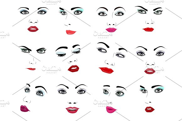 Woman Face Vector Portrait Female Facial Or Girls Beauty Fashion Faced Care And Beautiful Women Facing With Makeup Illustration Isolated On White Background