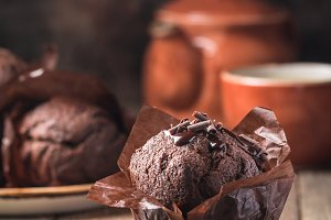 Homemade chocolate muffin