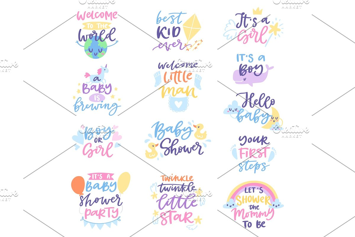 Baby Shower Sign Vector Boy Or Girl Newborn Kids Birth Party Lettering Text With Calligraphy Letters Or Textual Font For Babyshower Invitation Card