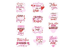 Love vector lovely calligraphy lovable lettering iloveyou quote with heart sign for lover on Valentines day beloved card illustration isolated on white background