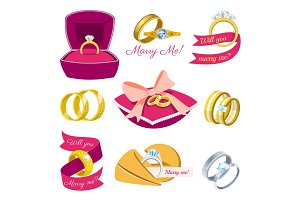 Wedding rings vector engagement symbol gold silver jewellery for proposal marriage wed sign will you marry me bridal illustration set isolated on white background