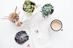 office desk flat lay with coffe, not