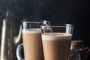 Glass with cold latte