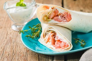 fresh tortilla wrap with salmon