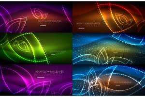 Set of neon leaves abstract backgrounds