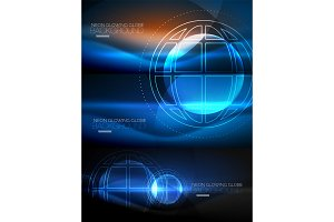 Set of techno earth planet concept backgrounds, global idea
